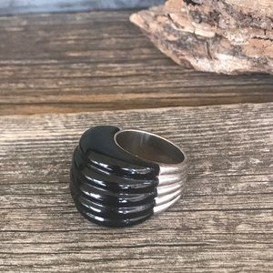 Black Onyx 925 Wide Domed Ribbed Cocktail Ring